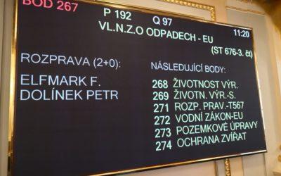 Elfmark: Komentář k projednávání třetího čtení oběhového balíčku, zákon o odpadech